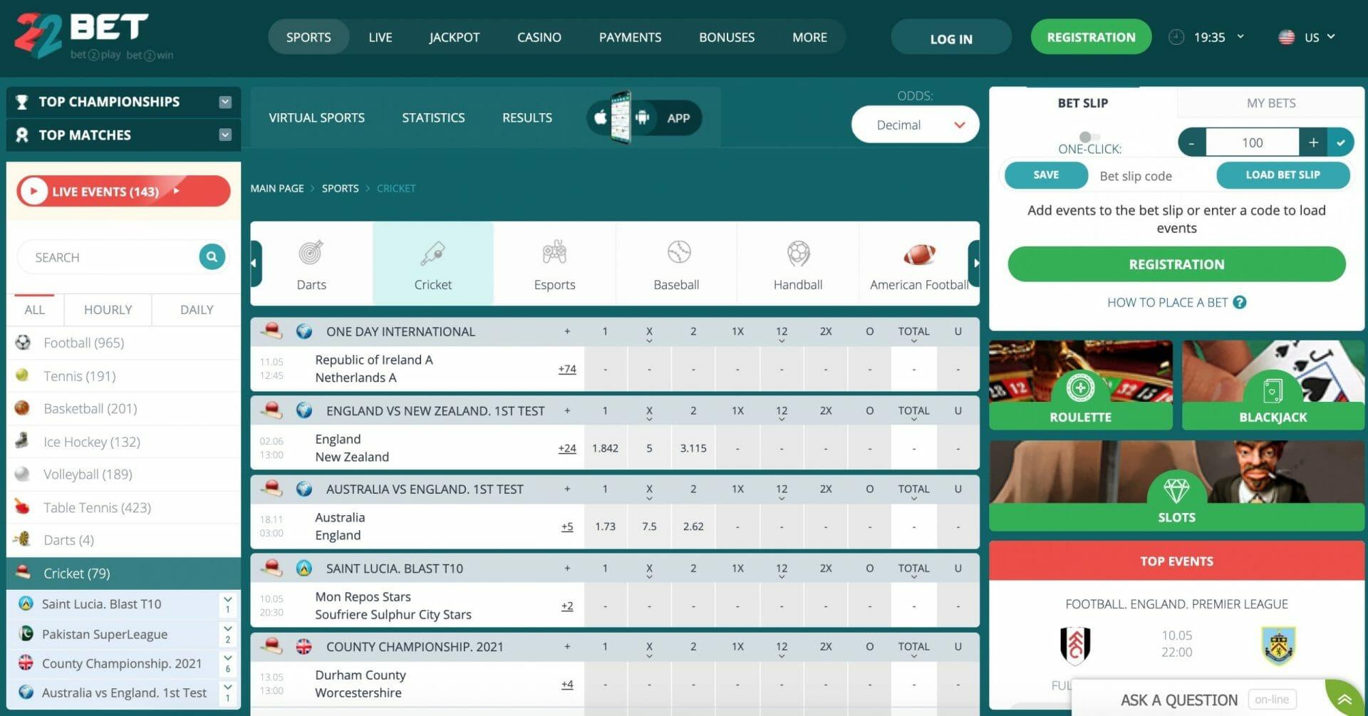 22bet cricket betting odds
